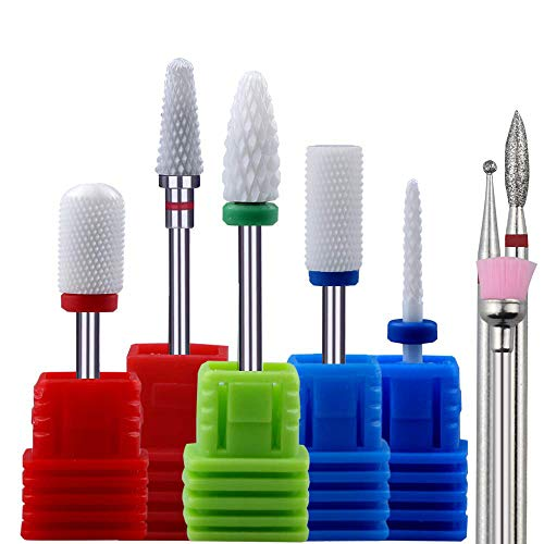 Nail Drill Bits for Acrylic Nails Ceramic Diamond by Aieil - 8PCS 3/32