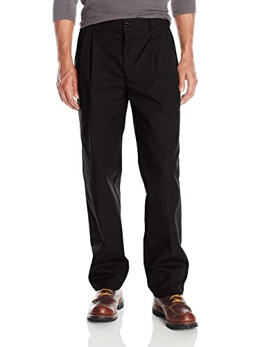 Red Kap Men's Pleated Work Pant, Black, 30x34 (Double Pleated Dress Pants)
