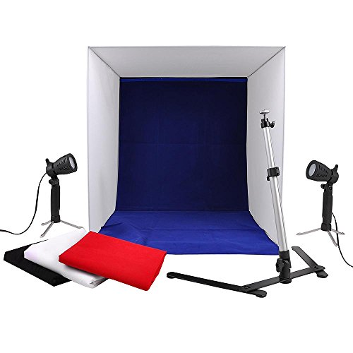 AW 24'' x24'' Table Top Photo Photography Studio Lighting Light Tent Kit in a Box with 4 Backdrops and Camera Stand by AW