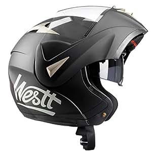 Westt® Torque · Casco Moto Modular con Doble Visera para Ciclomotor Motocicleta y Scooter · Cascos de Moto Modulares Mujer y Hombre en Negro Mate · ECE Homologado