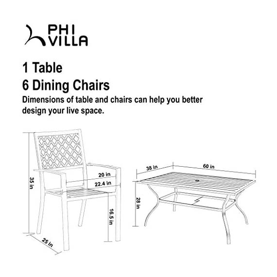 PHI VILLA Metal Outdoor Patio 60 inch Rectangular Dining Table and Chairs Set of 7- Black - Durable metal steel frame longevity with e-coating and use black high quality coating with gold spots.,rust resistant and weather resistant,bring you years of enjoymen; Stylish modern slate design with metal very sturdy, easy to assemble, and easily cleaned up with damp cloth and water; You can using the table as a buffet for the party or a delicious BBQ and family dinners, this table is designed to fit any kind of lifestyle. - patio-furniture, dining-sets-patio-funiture, patio - 41nShBM8DYL. SS570  -