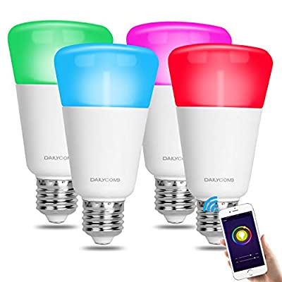 DAILYCOMB Smart Light Bulb, Multicolor Wi-Fi LED Bulb, Compatible with Amazon Alexa and Google Home, A19 7W (60W Equivalent), Dimmable, No Hub Required, Free APP and Voice Control (4 Pack)