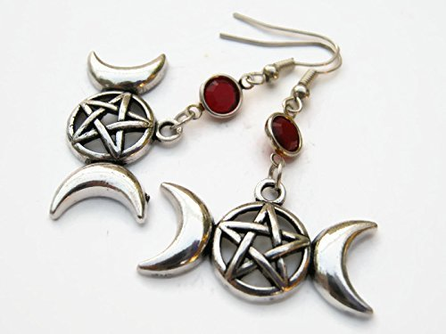 Moon Pentacle Stone (Pentacle Crescent Moon Birthstone Earrings, Personalized Nature Earrings, Fertility Jewelry, Triple Goddess Earrings)