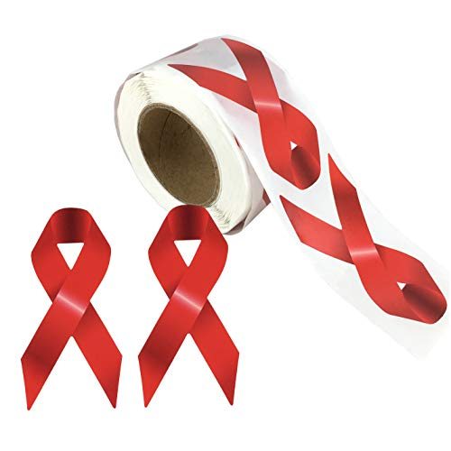 Aids Awareness Ribbon (250 pcs AIDS HIV Awareness Red Ribbon Stickers Roll, 3 x 1 1/2)