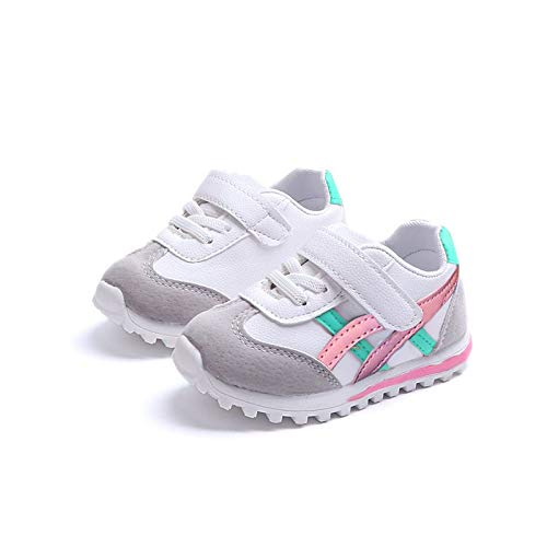 EsTong Toddler Pu Leather Baby First Walkers Boys Girls Sneakers Kids Running Shoes Pink 4M US Toddler