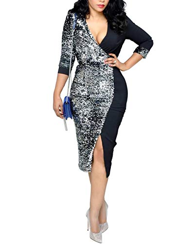 IyMoo New Years eve Dress - V Neck Sexy Sparkly Split Cocktail Party Dress Black]()