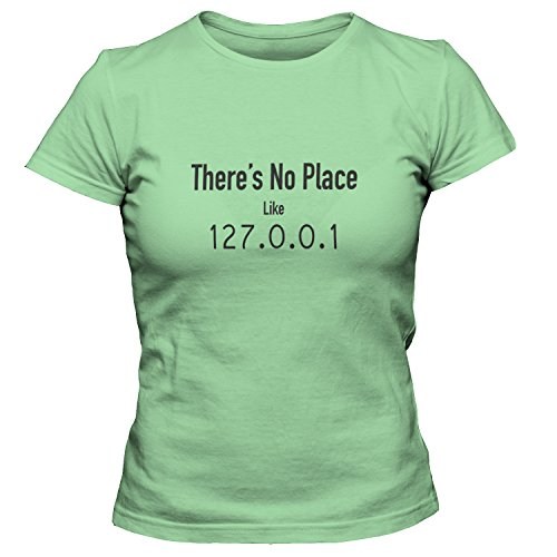 ShirtLoco Women's Theres No Place Like 127.0.0.1 T-Shirt, Kiwi 3XL (Switch Kw3)