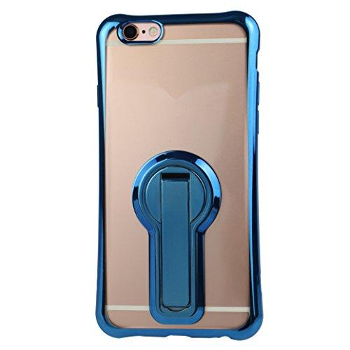 Funda iPhone 7 Silicona, Rosa Schleife Ultra delgado Cubierta de la caja del silicón de TPU Caso Carcasa cubrir con diseño de chapado de la contraportada Función de Soporte Funda de Móvil para el iPho Edge Plating - Azul