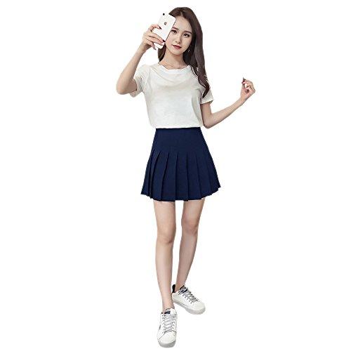 cole KINDOYO Haute Mode Taille Fonc Femmes Jupe Court Nouveau Bleu Pliss Coton nqg1wqY4