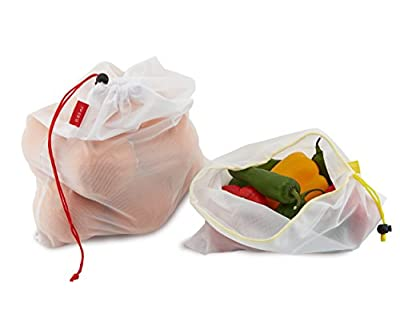 Outtills Zero Waste Produce Bags - See Through Washable Vegetable Bags - Best for Storing and Organizing Groceries - Lightweight Mesh Reusable Produce Bags with Drawstring - Set of 12 - 3 Sizes