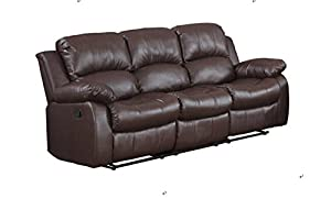 Classic and Traditional Brown Bonded Leather Recliner Chair Love Seat Sofa Size - 1 Seater 2 Seater 3 Seater Set (3 Seater)  sc 1 st  Amazon.com & Amazon.com: Classic and Traditional Brown Bonded Leather Recliner ... islam-shia.org