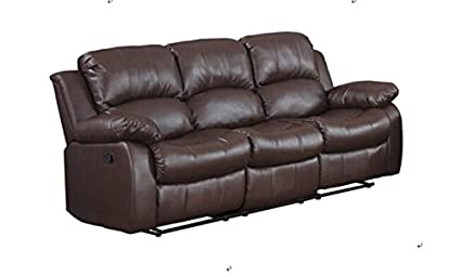 Classic And Traditional Brown Bonded Leather Recliner Chair, Love Seat, Sofa  Size   1