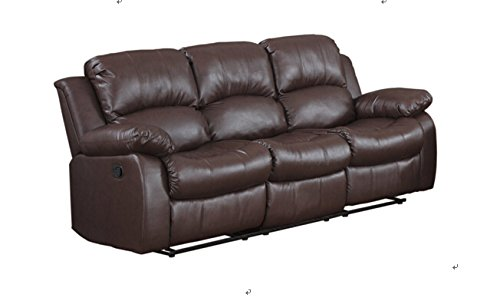 Classic and Traditional Brown Bonded Leather Recliner Chair, Love Seat, Sofa Size - 1 Seater, 2 Seater, 3 Seater Set (3 Seater) (Leather Sofa Set Clearance)