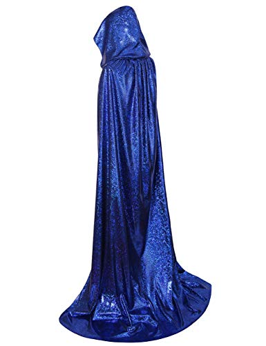 Colorful House Laser Halloween Hooded Cape, Full Length Cosplay Cloak(Blue, 170cm) -