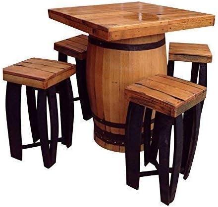 Plaza artesanal Barril sólida madera de roble mesa Bebidas & 4 ...