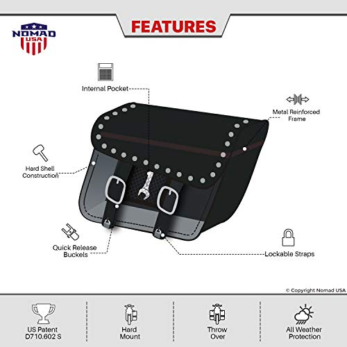 Nomad USA Leather Slanted Motorcycle Saddlebags w/Quick Release Buckles (Braided & Studded) by Nomad USA (Image #7)