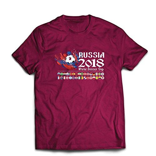 lepni.me Camisetas Hombre Copa Mundial de Rusia 2018, Las 32 Banderas Nacionales del Equipo de fútbol (Small Borgoña...