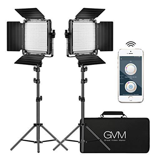 Gvm 2 Pack Led Video Lighting Kits With App Control Bi Color Variable 2300k 6800k With Digital Display Brightness Of 10 100 For Video Photography Cri97 Tlci97 Led Video Light Panel Barndoor