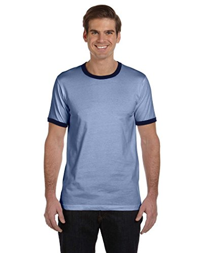 (Bella + Canvas Men's Jersey Short-Sleeve Ringer T-Shirt (3055C)- HEATHER BLUE/NAVY,L)