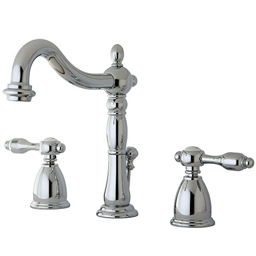Kingston Brass KB1971TAL Tudor Widespread Lavatory Faucet With ABS/Brass Pop-Up, Polished Chrome, 6-1/2 inch in Spout Reach, Polished Chrome