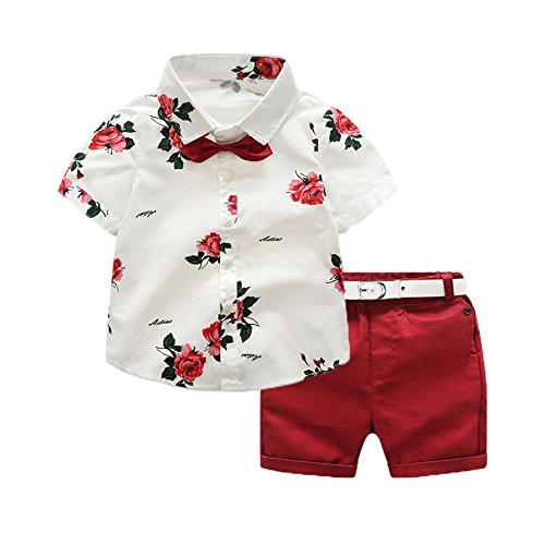 Toddler Little Boy Kids Summer Floral Shirt Bermuda Shorts Outfit Set Clothes (White/Red, 2T) ()