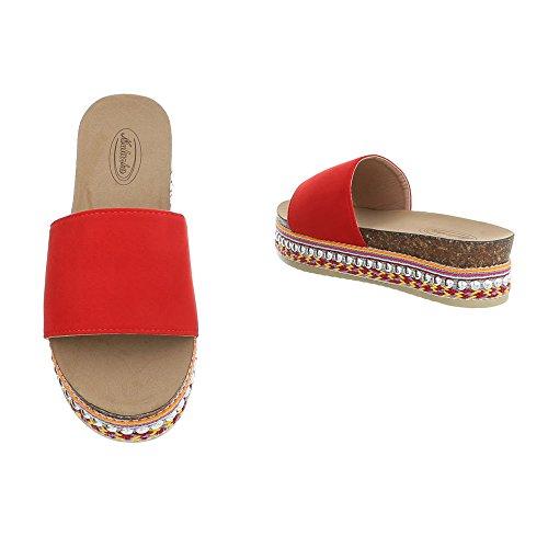 Ital-Design Zapatos Para Mujer Sandalias de Vestir Plano Zuecos Rojo G-78