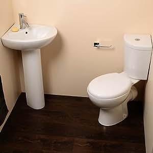 Diseño moderno para esquina o cama de matrimonio 2 piezas Lavabo en-nupcial - diseño Eco para inodoro con tapa WC de cerámica con tapa con cierre amortiguado asiento + 1 orificio para grifo de lavabo se debe lavar a mano lavabo (compact agua y para ahorrar espacio sartén + cisterna - Altura: 770 mm, ancho: 360 mm, de proyección: 790 mm, proyección sartén: 420 mm) (fregadero de pie - Altura: 800 mm, ancho: 550 mm, Profundidad: 520 mm)