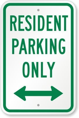 (WERRT Resident Parking Only (with Bidirectional Arrow) Sign, 8