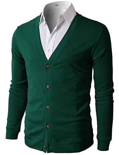 H2H Mens Casual Slim Fit Basic Designed Cotton Cardigan, CMOCAL012-GREEN, US M (Asia L)
