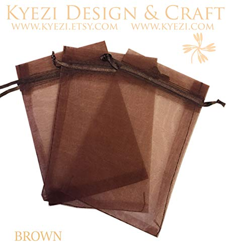 100 Pcs Brown 2x3 Sheer Drawstring Organza Bags Jewelry Pouches Wedding Party Favor Gift Bags Gift Bags Candy Bags [Kyezi Design and Craft] ()