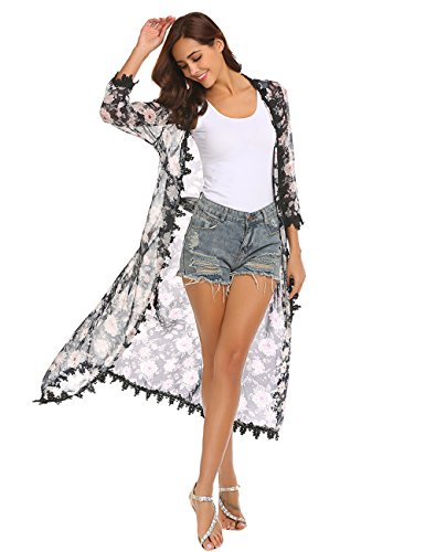 Women's Long Chiffon Swimsuit Cover Up - Summer 3/4 Sleeve Kimono Cardigan with Lace Trim Navy Blue S
