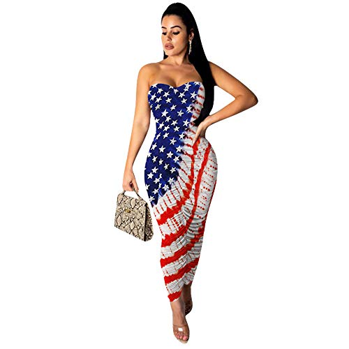 Womens Sexy Bodycon Ruched Dress Strapless Bandeau Tube Top Pleated Party Midi Sheath Dresses National Flag XL