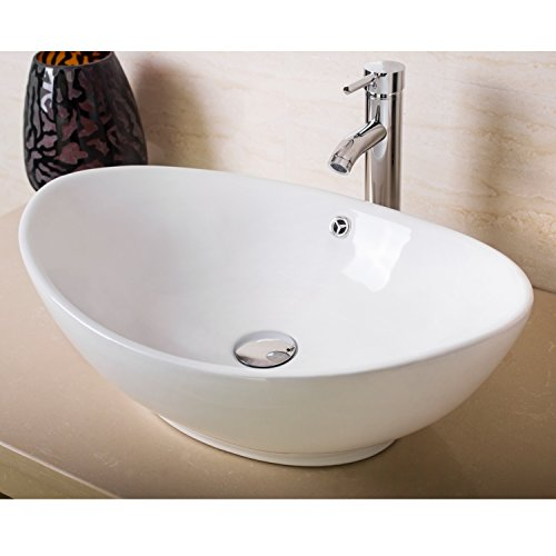 Sliverylake Oval White Ceramic Vessel Sink Bathroom Countertop Bowl and Faucet Drain (Oval Countertop Lavatory Sink)