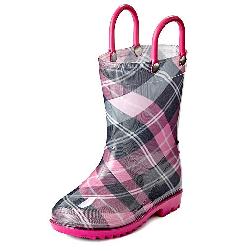 Toddler and Kids Pink and Black with Fuchsia Trimming Rain Boots – Size 11 Little Kid