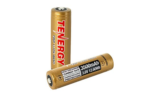 Price comparison product image Tenergy 18650 Battery 3.6V 3500mAh Rechargeable Batteries Li-ion PCB Protected Button Top High Drain 12.6Wh 2 Pack