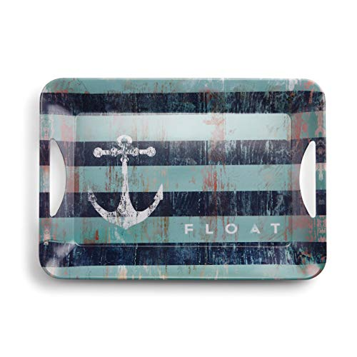 Anchor Float Distressed Nautical Blue Stripe 19 x 13 Melamine Serving Tray