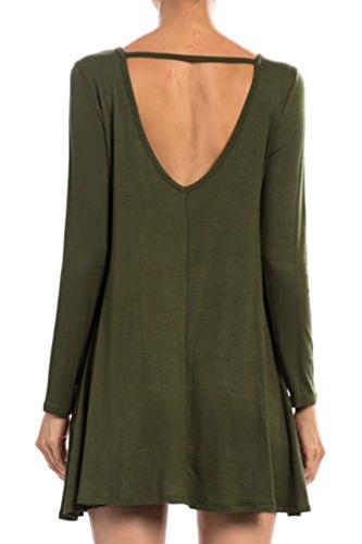 Solid Cherish V Olive Strap Dress Round D5270 Tunic Women's Fit Loose Neck Back Cutout Neck TCq5C