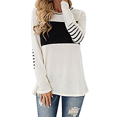 Woaills Hot Sale Women's Elbow Patched Block Stripe Round Neck Tops Shirt