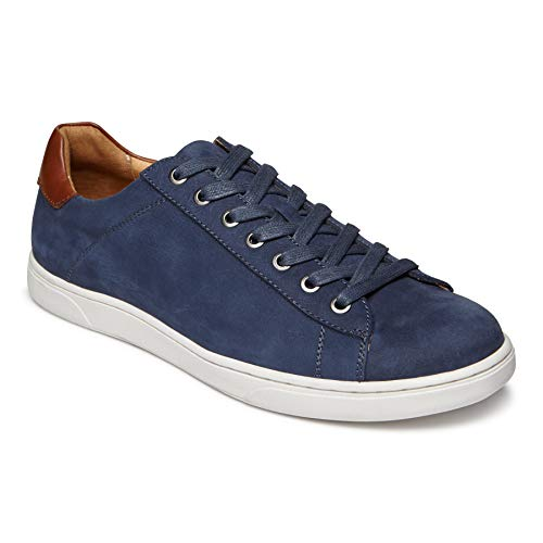 Mens Lace Up Sneakers - Vionic Men's Mott Baldwin Lace-up Sneaker - Leather Shoes for Men with Concealed Orthotic Support Navy Nubuck 10.5 D US