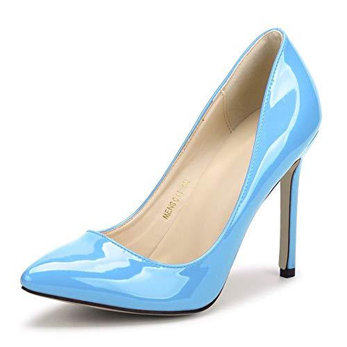 (fereshte Women's Pointy Toe Slip On Stilettos High Heels Wedding Shoes Dress Pumps Sky Blue US 9)