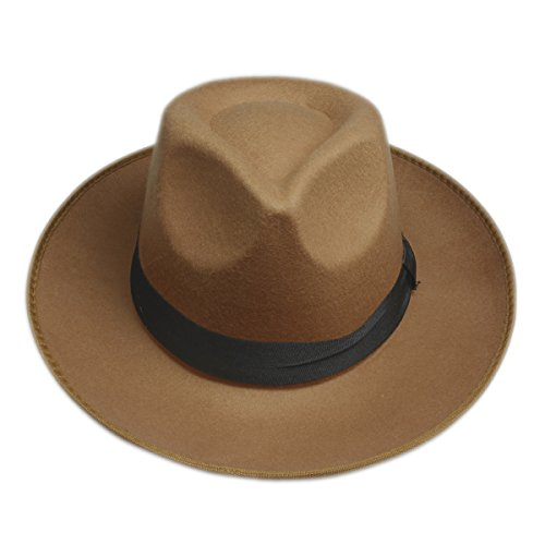 Elee Vintage Style Men Women Hard Felt Hat - Felt Hats For Women Wide Brim