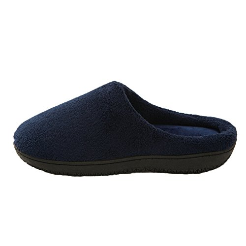 HONGANG Men's House Soft Winter Slippers Warm Non-Slip Memory Foam Indoor Mules Coral Fleece House slippers Blue ep1g8