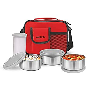 Milton Lunch Box Steel Combi with Tumbler, 4-Pieces, Red