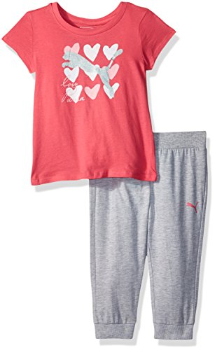 PUMA Toddler Girls' 2 Piece Tee and Capri Joggers Set, Hot Rosa, 3T