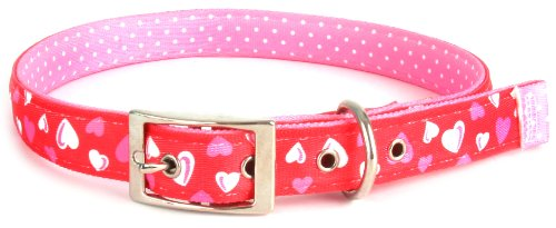 Yellow Dog Design Uptown Collar, Medium, Red Hearts on Pink Polka, Small Dots, My Pet Supplies