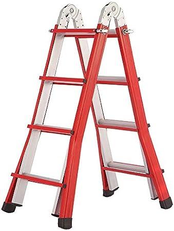 Escalera extensible/ Escalera telescópica Pequeñas escaleras Gigantes de Servicio Pesado - Escalera de extensión portátil de Aluminio, Rojo, 150 kg, 3 M / 4,1 M, 3/4 escalón: Amazon.es: Hogar