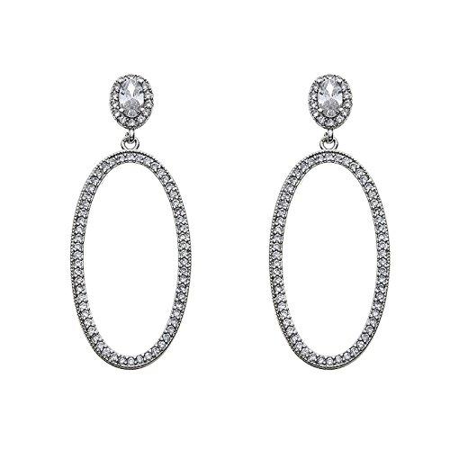 925 Sterling Silver Round Stud Earrings Jackets AAA Zircon Big Circle Dangle Earring Eardrop Anti allergy for girl and women by Ivynei