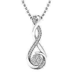 Women's Round White Diamond Infinity Swirl Pendant