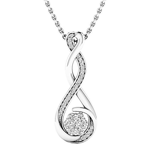 0.20 Carat (ctw) 14K White Gold Round Diamond Ladies Infinity Swirl Pendant (Silver Chain Included) (Infinity Diamond Gold Necklace)