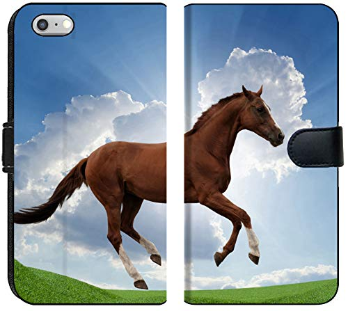 (Liili iPhone 6 Plus and iPhone 6S Plus Flip Micro Fabric Wallet Case Image ID: 22621561 Peaceful Background Brown Horse Running on Green Grass Field Beautiful Sunrise Picture f)